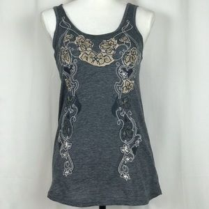 PINS & NEEDLES Embroidered Tank Top Gray Size M